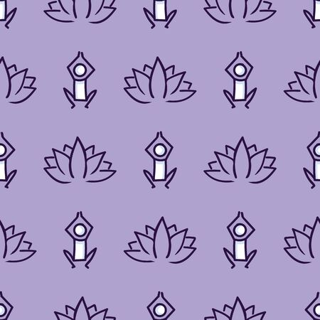 Stick figure yoga pose with lotus flower seamless vector pattern. Hand drawn peace zen and wellness background. Physical exercise fitness home decor. Health aerobics.