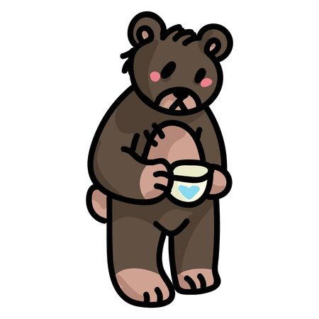 Cute stylized teddy bear with teacup clipart. Hand made kids soft toy. Fun hand drawn cuddly fluffy animal doodle in flat color. Isolated love, child, cub. Vector EPS 10.