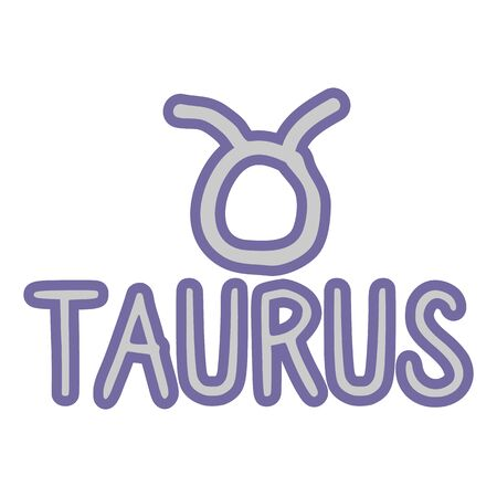 Taurus star sign zodiac symbol clip art. Mystic esoteric astrological sign. Magic horoscope illustration doodle in flat colour. Isolated spirituality vector. Ilustracja