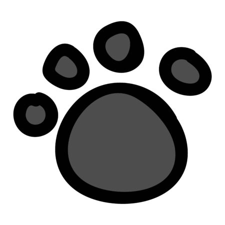 Cute stylized animal paw pad cartoon doodle clip art. Hand drawn mammal track. Fun walking wildlife marks in flat color. Isolated cat, dog, bear illustration.