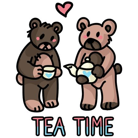 Cute stylized teddy bear tea party clipart. Hand made kids soft toy. Fun hand drawn cuddly fluffy animal doodle in flat color. Isolated love, child, cub. Vector EPS 10.