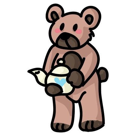 Cute stylized teddy bear with teapot clipart. Hand made kids soft toy. Fun hand drawn cuddly fluffy animal doodle in flat color. Isolated love, child, cub. Vector EPS 10.
