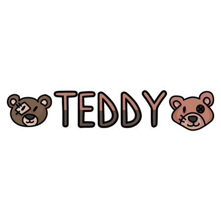 Cute stuffed teddy bear plush clipart. Hand made kids soft toy typography. Fun hand drawn cuddly fluffy animal doodle in flat color. Isolated love, child, cub.  向量圖像