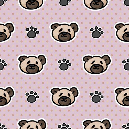 Cute simple teddy bear plush with paw pad seamless vector pattern. Hand drawn kids soft toy on striped background. Kawaii cuddly fluffy animal home decor. Joy, child, cub.