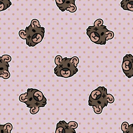 Cute stuffed teddy bear plush seamless vector pattern. Hand drawn kids soft toy on polka dot background. Cuddly fluffy animal home decor. Love, child, cub.
