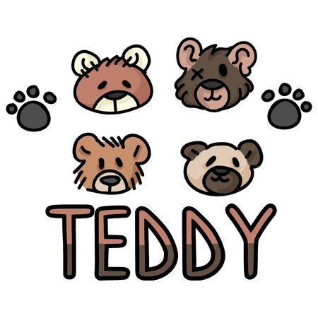 Cute stuffed teddy bear plush clipart. Hand made kids soft toy. Fun hand drawn cuddly fluffy animal doodle in flat color. Isolated love, child, cub. Typography paw vector.
