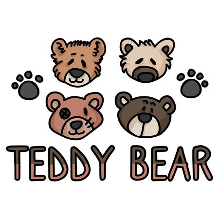 Cute stuffed teddy bear plush clipart. Hand made kids soft toy. Fun hand drawn cuddly fluffy animal doodle in flat color. Isolated love, child, cub. Typography paw pad vector. 向量圖像