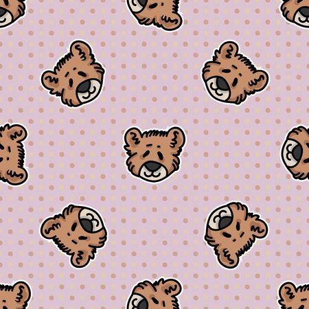 Cute teddy bear plush head seamless vector pattern. Hand drawn kids soft toy on polka dot background. Cuddly fluffy animal home decor. Love, child, cub.