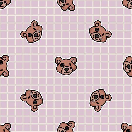 Cute button eyed teddy bear plush head seamless vector pattern. Hand drawn kids soft toy on gingham background. Cuddly fluffy animal home decor. Love, child, cub. 向量圖像