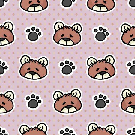 Cute toy teddy bear plush with paw pad seamless vector pattern. Hand drawn kids soft toy on striped background. Kawaii cuddly fluffy animal home decor. Joy, child, cub. Иллюстрация