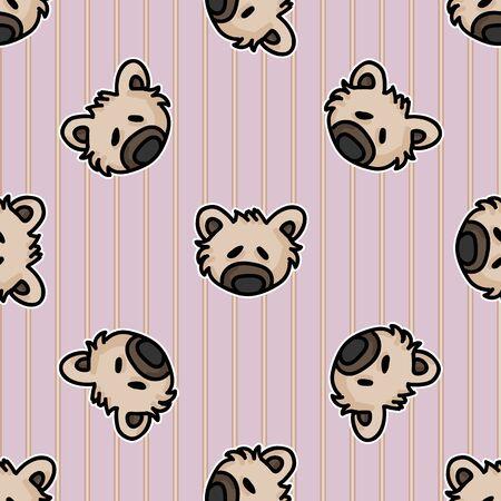 Cute light brown teddy bear plush head seamless vector pattern. Hand drawn kids soft toy on striped background. Cuddly fluffy animal home decor. Love, child, cub.