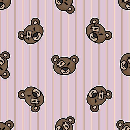 Cute stuffed teddy bear plush head seamless vector pattern. Hand drawn kids soft toy on polka dot background. Cuddly fluffy animal home decor. Love, child, cub. 向量圖像