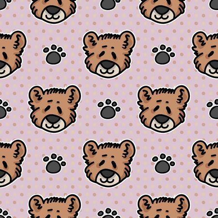 Cute teddy bear plush with paw pad seamless vector pattern. Hand drawn kids soft toy on striped background. Kawaii cuddly fluffy animal home decor. Joy, child, cub.