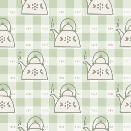 Cute stylized afternoon teapot seamless vector pattern. Hand drawn green gingham domestic ceramic kettle background. Hot drink kitchenware home decor. British crockery . Illusztráció