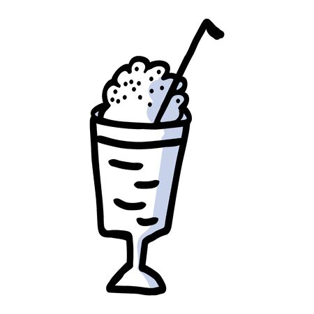 Cute American milkshake clipart. Hand drawn creamy blended dairy drink. Fresh summer smoothie lineart in flat color. monochrome isolated vanilla, straw.