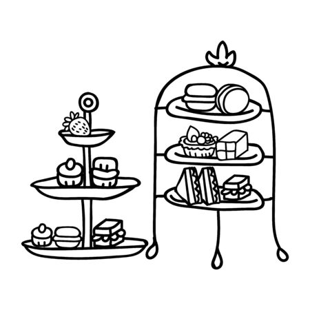 Cute two afternoon tea cake stand clipart. Hand drawn breakfast treat pastry. Cupcake domestic crockery lineart in flat color. Monochrome isolated cream tea, cafe.