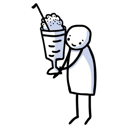 Hand drawn stick figure with american milkshake. Concept of diner sweet drink illustration. Simple icon motif of whipped cream dessert. Vanilla, smoothie, straw lineart clip art.