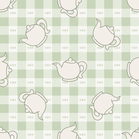 Cute afternoon teapot seamless vector pattern. Hand drawn green gingham domestic ceramic kettle background. Hot drink kitchenware home decor. British crockery.