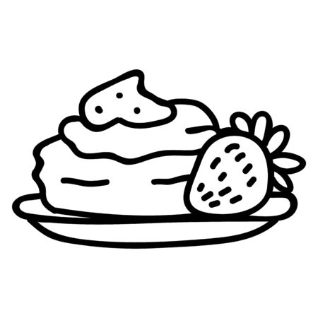 Cute British cream tea pastry scone with cream and strawberry jam clipart. Hand drawn traditional cafe snack. Pastisserie with fruit lineart in flat color. Monochrome, tasty, treat. Vector EPS 10.