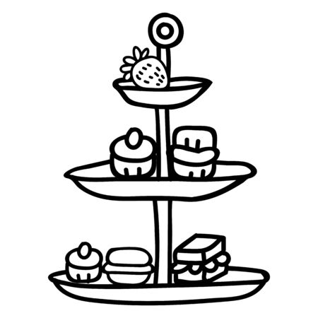 Cute afternoon tea cake stand clipart. Hand drawn breakfast treat pastry. Cupcake domestic crockery lineart in flat color. Monochrome isolated cream tea, cafe, sandwich.   イラスト・ベクター素材