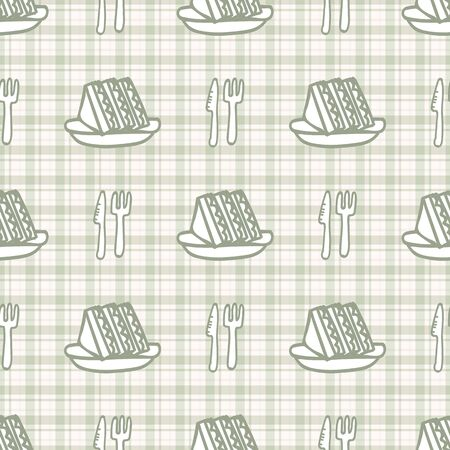 Cute cutlery and sandwich seamless vecotr pattern. Hand drawn green gingham domestic tableware background. Knife, spoon and fork kitchen utensil home decor.  イラスト・ベクター素材