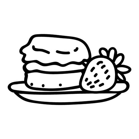 Cute cream tea pastry scone with cream and strawberry clipart. Hand drawn traditional cafe. Pastisserie fruit lineart in flat color. Monochrome isolated sweet, British, treat.