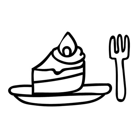 Cute afternoon tea cake with fork clipart. Hand drawn frosted pastisserie cafe food. Tasty baked sweet lineat in flat color. Monochrome isolated tasty, birthday, bakery.