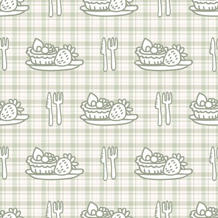 Cute cutlery and pastry seamless vector pattern. Hand drawn green gingham afternoon tea patisserie background. Traditional knife and fork home decor. Sweet dessert. Illustration