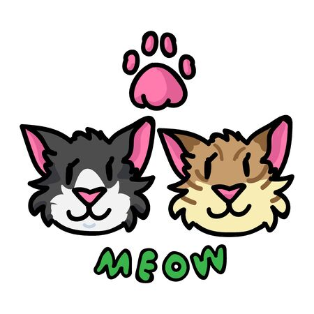 Cute cat faces with meow text clipart. Hand drawn pet kitty animal. Fun typography feline mammal doodle in flat color. Isolated paw, fauna, kawaii, striped.  イラスト・ベクター素材