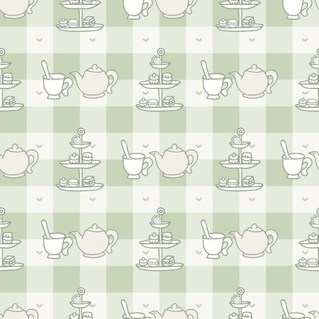 Cute cake stand and teapot seamless vector pattern. Hand drawn green gingham afternoon tea pastry background. Traditional teacup home decor. Sweet dessert.