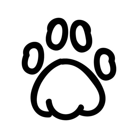 Cute lineart animal paw pad cartoon doodle clip art. Hand drawn mammal track. Fun walking wildlife marks in flat color. Isolated cat, dog, bear illustration.   イラスト・ベクター素材