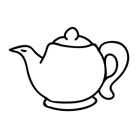 Cute afternoon tea teapot clipart. Hand drawn breakfast drink kitchenware. Porcelain domestic crockery lineart in flat color. Monochrome isolated spout, utensil, hot.