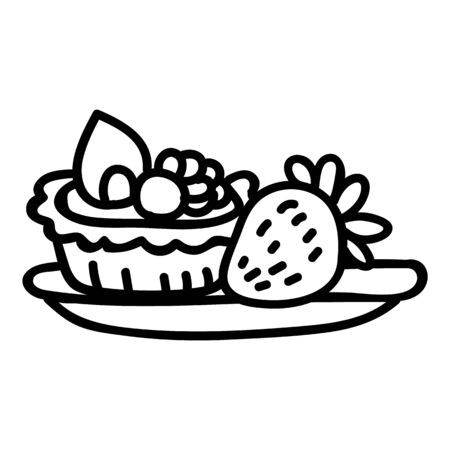 Cute afternoon tea pastry tart with strawberry clipart. Hand drawn breakfast cafe sweet snack. Baked patisserie for lunch lineart flat color. Monochrome isolated delicious, tasty, cake.  Vectores