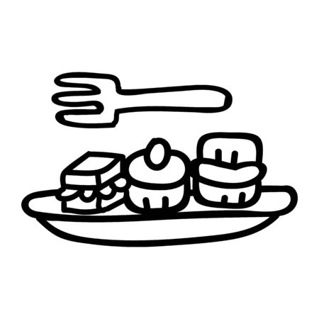Cute afternoon tea cake and sandwiches clipart. Hand drawn frosted pastisserie cafe food. Tasty baked sweet lineat in flat color. Monochrome isolated tasty, scone, bakery.