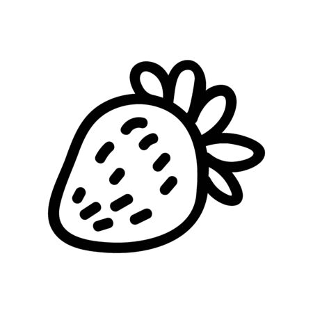 Cute single strawberry fruit clipart. Hand drawn fresh berry monochrome lineart. Seasonal healthy food in flat color. Vegan, ripe, natural.