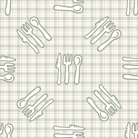 Cute cutlery knife, spoon and fork seamless vecotr pattern. Hand drawn green gingham domestic tableware background. Silverware kitchen utensil home decor.  イラスト・ベクター素材