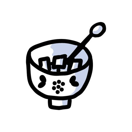 Cute afternoon tea sugar bowl clipart. Hand drawn sweet container kitchenware. Porcelain domestic crockery lineart in flat color. Monochrome isolated vector.  イラスト・ベクター素材