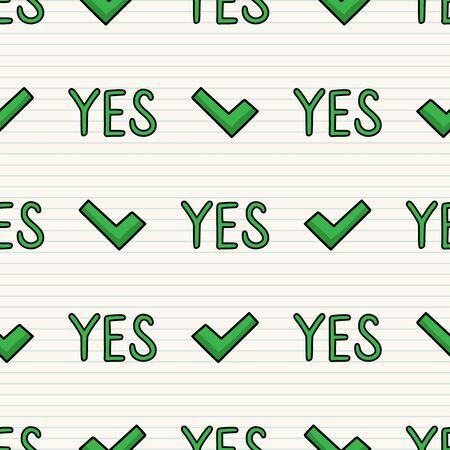 Linda marca de verificación sí patrón de vector transparente. Dibujado a mano aprobado signo simple de tipografía de garrapata. Aceptación de la decoración del hogar. Aislado confirmar, elegir, confirmar.