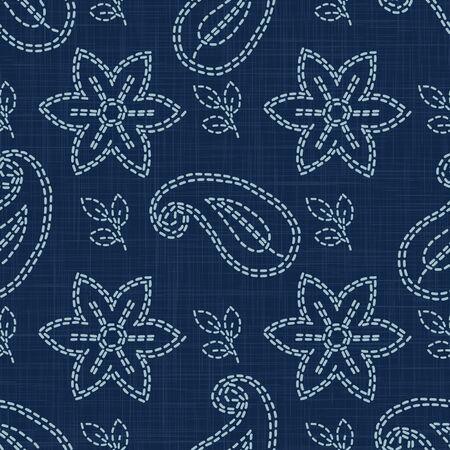 Flower Paisley Motif Embroidery Motif Background. Japanese Sashiko Needlework Seamless Linen Pattern. Hand Running Stitch Indigo Dark Blue. Texture Textile Allover Print. Japan.  イラスト・ベクター素材