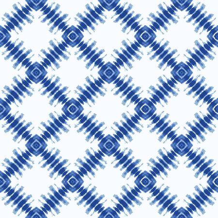 Shibori Tie Dye Effect Diamond Background. Seamless Pattern Textile Swatch in Bleach Style Dyed Indigo Blue.