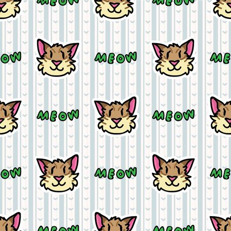 Cute tabby pet cat on blue gingham seamless vector pattern. Hand drawn kitty with text typography background. Playful, expression, fur, meow home decor. Feline. Illustration