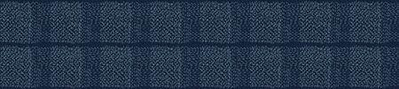 Dunkelblaues Denim-Leinen-Vektor-Grenzmuster. Quilt-Patchwork-Effekt in melierter Mergelfarbe. Woven Indigo Space Dyed Texture Banner Trim. Stoff Textilhintergrund Bordüre Kanten. Baumwolle. Vektorgrafik