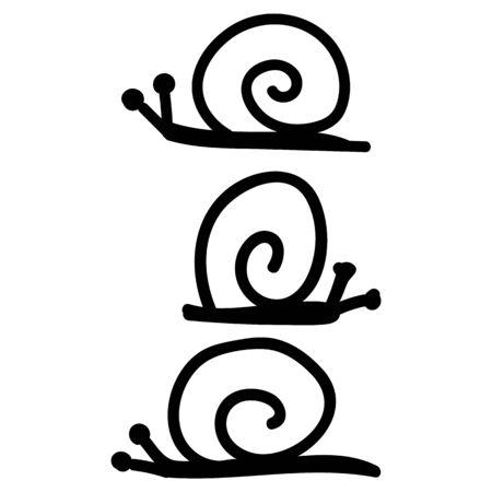 Cute simple snail lineart doodle clip art. Hand drawn mollusk wildlife nature insect. Flat color garden pest slug with shell illustration. Isolated slug, monochrome, gastropod. 向量圖像