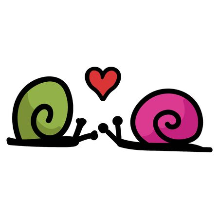 Cute simple snail love doodle clip art. Hand drawn mollusk wildlife nature insect. Flat color romantic valentines day illustration. Isolated slug, blue, gastropod.