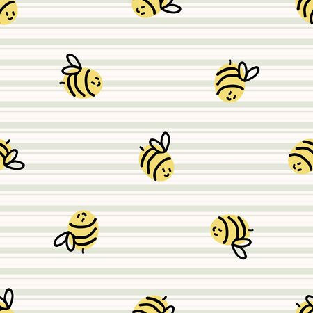 Cute simple stylized bee seamless vector pattern. Hand drawn flying beeline insect gingham stripe background. Summer bug home decor. Playful, busy bee, yellow all over print.