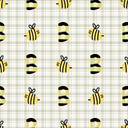 Cute simple stylized letter b bee seamless vector pattern. Hand drawn flying beeline insect gingham stripe background. Summer bug home decor. Playful, busy bee, yellow all over print typography. Ilustração