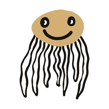 Kawaii doodle marine jellyfish clipart. Hand drawn aquatic underwater wildlife. Tentacle ocean sea life cute illustration in flat color. isolated nature, oceanography, undersea.