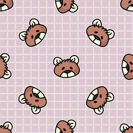 Cute stuffed sewn teddy bear plush head seamless vector pattern. Hand drawn kids soft toy on gingham background. Cuddly fluffy animal home decor. Love, child, cub.