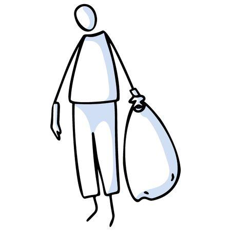 Chiffres de bâton dessinés à la main tenant un sac poubelle. Concept de nettoyer le jour de la terre. Motif d'icône simple pour la journée de la terre environnementale, clipart bénévole, illustration de recyclage.