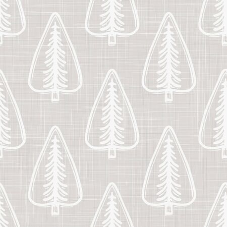 Gray French Linen Texture Background printed with White Winter Fir Tree. Natural Unbleached Ecru Fibre Christmas Seamless Pattern. Close Up Weave Fabric for Festive Snowy Packaging,